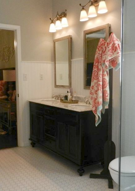 Water Creations London dark stained double vanity with Carrara marble countertop in master bath redo - Atticmag