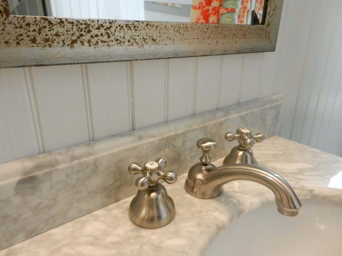 Sunrise Specialty vintage style cross handle sink faucets in master bath redo - Atticmag