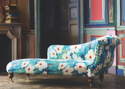 Fainting couch upholstered in large scale floral upholstery fabric from Harlequin Impasto collection  - harlequin via atticmag