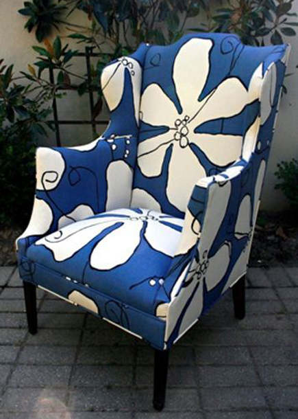 arm chair upholstered in large-scale print Dusk Poppy fabric