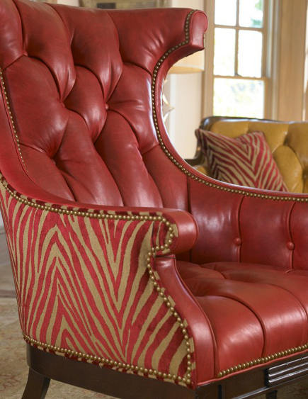fashion inspired chairs - Hancock and Moore button-tufted leather an animal print red Artists Chair - via atticmag