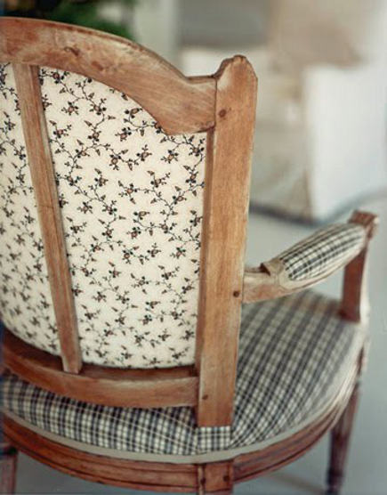 18th century style frame chair with vintage fabric on the back and new fabric by Albert Hadly ont he seat, front and arms