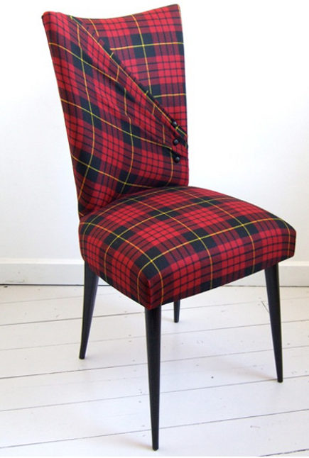 fashion inspired chairs - Aiveen Daly's McQueen Stiletto chair in red tartan upholstery via atticmag