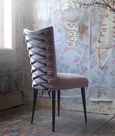 fashion inspired chairs - velvet-upholstered Spank Stiletto chair with black satin corset detailing on the back - aiveendaly via atticmag