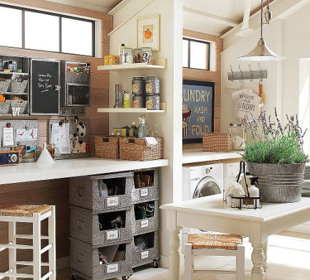 crafts room ideas - combination laundry room and crafts room with a common table - a brighter place via atticmag