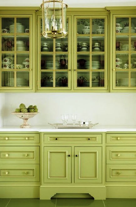 Lime green Georgian style butler's pantry cabinets - house and home via atticmag