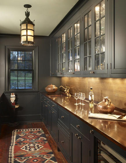 charcoal gray-painted butler's pantry with copper bar sink and counters