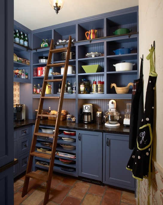 blue-violet butler's pantry with terra cotta stone floor and library ladder by Murphy Co design