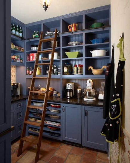 blue butler's pantry with library ladder - Atticmag