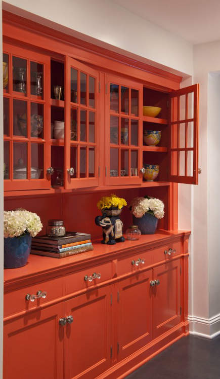 Orange butler's pantry cupboard painted in Benjamin Moore's Dark Salmon - lucyinteriordesign via atticmag