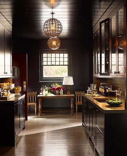 chocolate colored butler's pantry in a Southhampton house by Steven Gambrel