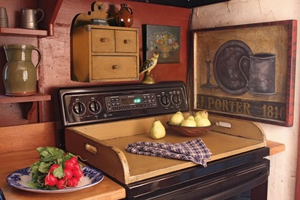 wooden stove top tray