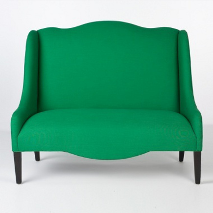 accent colors - emerald green settee from southofmarket via Atticmag