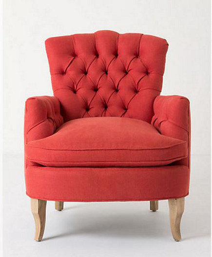 accent colors - lobster red Marjorie chair from Anthropologie via atticmag