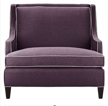accent colors - Barrington chair in grape from Crate and Barrel via Atticmag