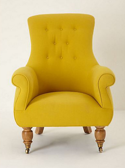 accent colors - mimosa yellow Astrid chair from Anthropologie via Atticmag