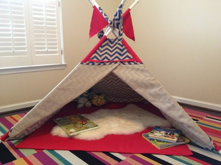 sheepskin rug in playroom teepee