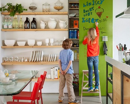 dry erase paint wall - via Atticmag