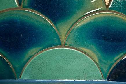 Douglas Watson variegated crackle-glaze scallop tiles