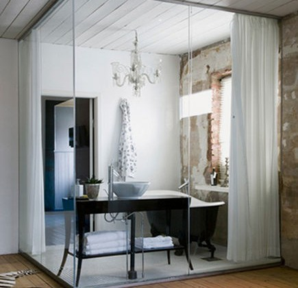 glass wall bathroom - modern interior glass wall bathroom in rustic villa - Katarina Malmstrom Brown Photography via Atticmag