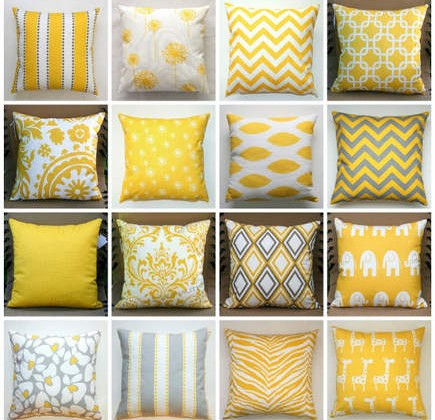 collage of yellow print patterns on pillows - modernality2/etsy via Atticmag