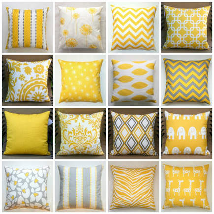 collage of yellow and white print pillows