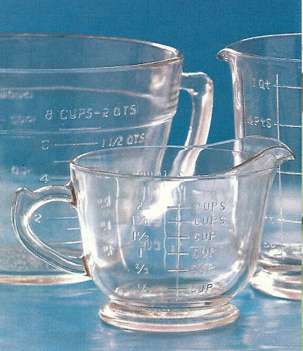 clear Depression glass measuring cups