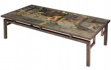 A Philip And Kelvin Laverne Metal Table Is An Elaborate Work In Bronze And  Enamel.