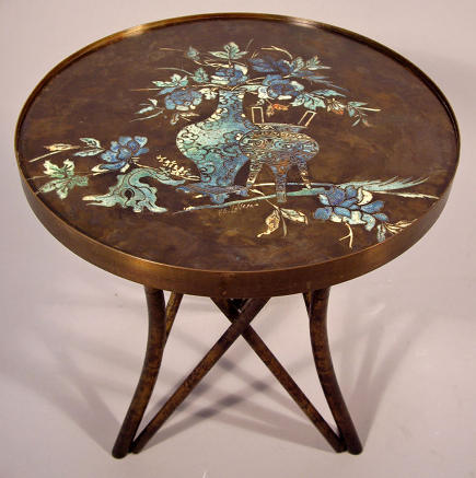 brass and enamal occasional table by Philip and Kelvin Laverne