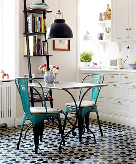 geometric cement tile floor in a Swedish kitchen