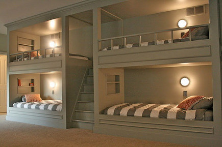 bunk beds for kids - built in double bunk beds in a room for 4 boys - august fields via Atticmag