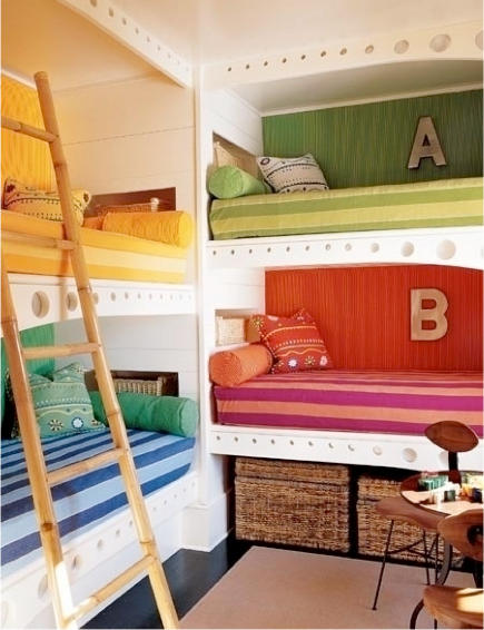 bunk beds for kids - 4 colorful bunks built in a corner - simply seleta via atticmag