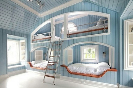 bunk beds for kids - nautical theme bunk beds in a sky blue planked bedroom with a steel ship's ladder - landinophoto via Atticmag