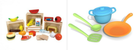 wood painted pretend play kitchen food by Melissa and Doug