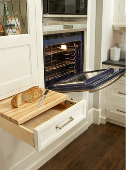 kitchen cabinet drawer with cutting board insert
