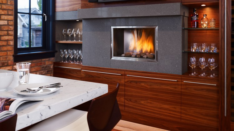 kitchen fireplace - Contemporary Downsview cabinet kitchen with fireplace in the wall - ledesign via atticmag