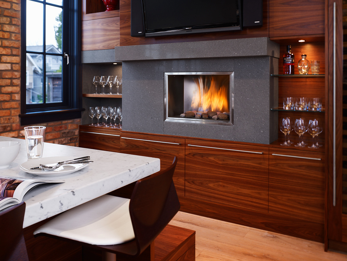 Contemporary Fireplace Kitchen