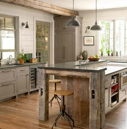 barnwood beam kitchen island from Country Living