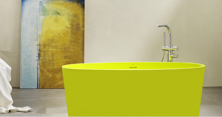 Warm or cool, colored bathtubs highlight the focus on sculptural fixtures  in contemporary baths.