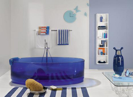 colored bathtubs - Regia cobalt blue glass bathtub via atticmag