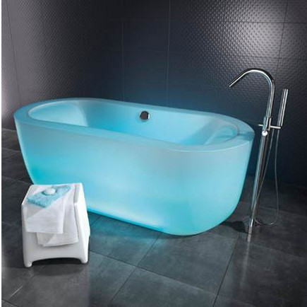 colored bathtubs - pale blue polymer illuminated bath tub marie claire maison via atticmag