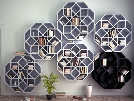 octagonal minizelli bookshelves by Younes design