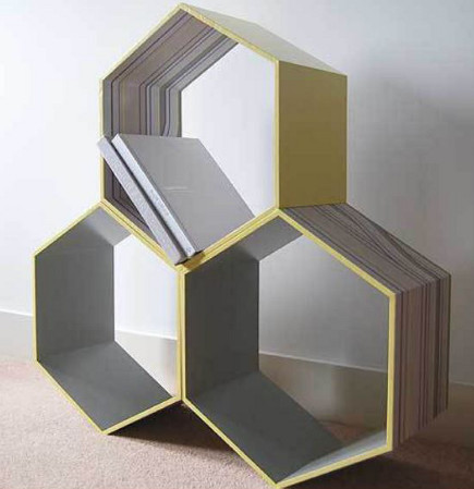 hexabonal freestanding bookcases by Timothy Ben furniture