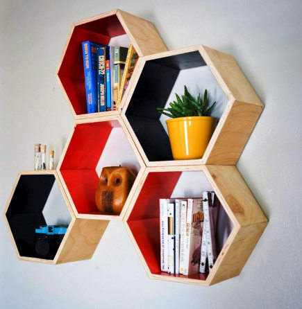 hexagonal wall shelving from Handmade Riot