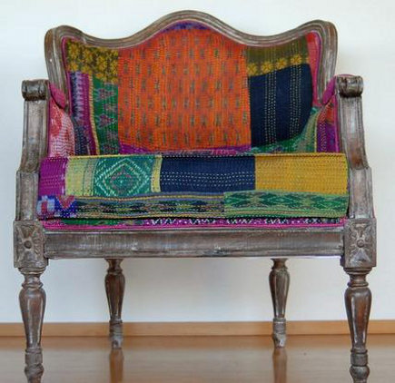 bold upholstery fabric - chair upholstered in Bengali kantha quilted fabric - handandcloth via atticmag