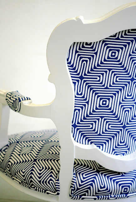 bold upholstery fabric - cobalt and white geometric fabric chair from Wild Chairy via atticmag