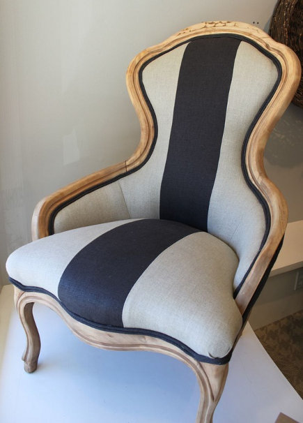 vintage chair reupholstered in striped linen
