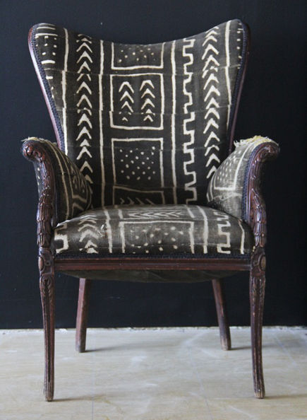 chair upholstered in mudcloth from Mali
