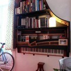 Repurposed Piano Bookshelves