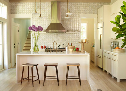 Kitchen with Ann Sacks Nottingham honey comb tile by Angie Hranowsky